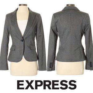 NWT EXPRESS Gray One-Button Suit Blazer 0 XS
